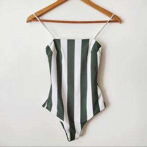 H&M One Piece Swimsuit Stripes Green Size 4